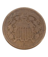 1871 Two Cent Piece in Good Condition, Brown Color, Full 4 Digit Date - €35,21 EUR