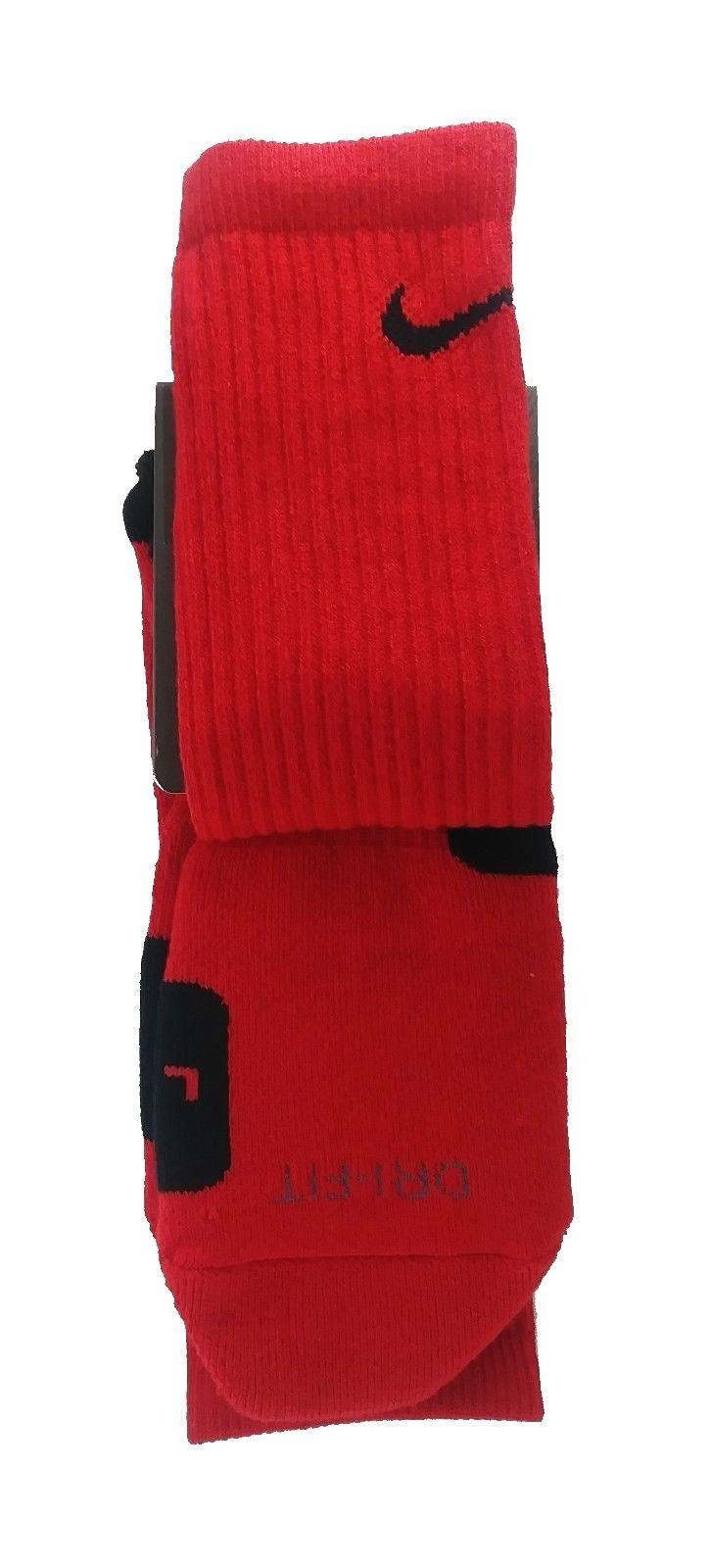 NIKE Elite Cushioned BasketBall Dri-Fit Crew Socks sz L Large (8-12) Red Black