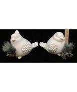 Winter Bird Figurines with Pine Branch & Pinecones  Winter White Resin G... - $14.84
