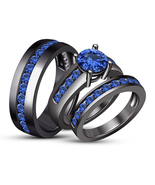Black Gold Finish 925 Pure Silver Blue Sapphire Trio Ring Set - $119.88