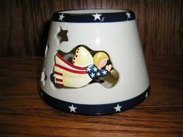 Home Interiors Americana Flag Angels-Stars- Candle Shade Topper. Patriot... - $11.99