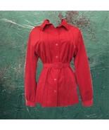 1970s vintage plus size red velour shirt 1x xl - $74.99