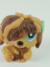 Hasbro Littlest Pet Shop LPS #1077 Brown Sheepdog Puppy Dog With Aqua Bl... - $7.27