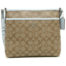 NEW WOMEN'S COACH (F29210) SIGNATURE KHAKI PALE BLUE FILE CROSSBODY HAND... - $82.00