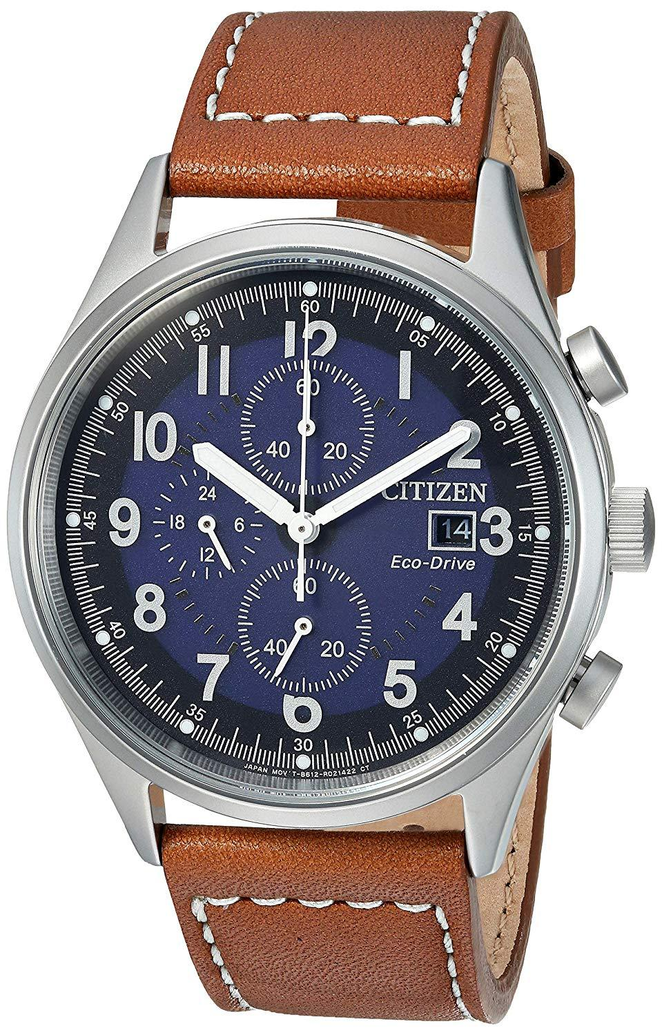 Citizen Mens Watch Chronograph Stainless Steel leather Eco-Drive CA0621-05L