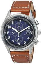Citizen Mens Watch Chronograph Stainless Steel leather Eco-Drive CA0621-05L image 1