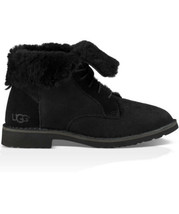 UGG Quincy Lace Up Booties Women 7 Twinface Sheepskin 1012359 Black boots - $49.49