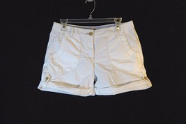 Women's Tommy Hilfiger White Cotton Shorts Size 6 with Rollup Leg Opening - $9.85