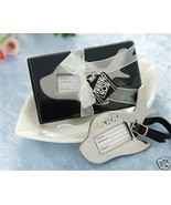 12 Airplane Luggage Tags with Leather Strap Wedding Favors Bridal Shower... - $31.72