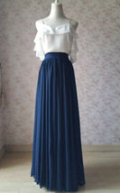 2020 Navy Bridesmaid Chiffon Skirt Floor Length Navy Full Long Chiffon Skirt image 3