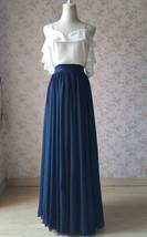 2020 Navy Bridesmaid Chiffon Skirt Floor Length Navy Full Long Chiffon Skirt image 3