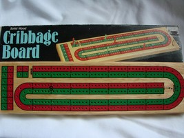 Cardinal No.62 CRIBBAGE Board 2 Player Continuous Track Solid Wood Red and Blue - $10.75