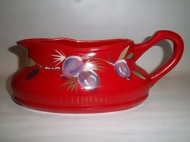 Tracy Porter JOLLY Ol' SNOWY Sugar Plum Collection Red Gravy Boat - $12.86