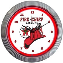"Texaco Fire Chief Gasoline Neon Clock 15""x15"" - $69.00"