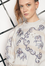 Vintage knit sweater - 80s silver fish jumper - $39.88