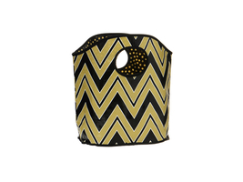 Black and Gold Chevron Print Polypropylene Bucket Tote - $14.95