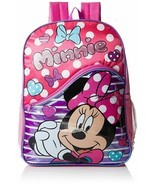 $35 Disney Little Girls Minnie Mouse Polka Dot Stripe 16 Inch Backpack, ... - $17.77