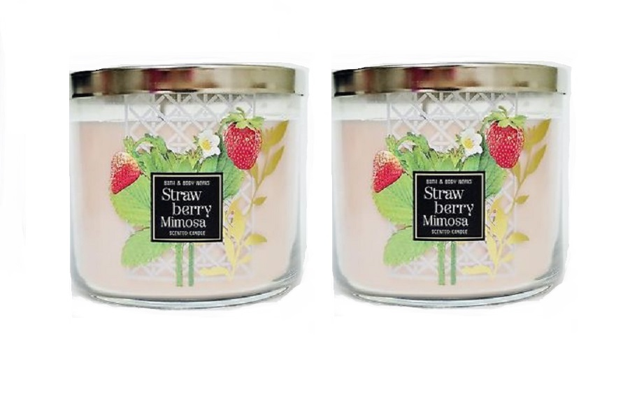 2x  Bath & Body Works Strawberry Mimosa 3 Wick Scented Candle with Lid 14.5 oz