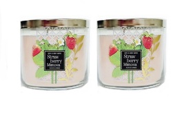 2x  Bath & Body Works Strawberry Mimosa 3 Wick Scented Candle with Lid 1... - $55.99