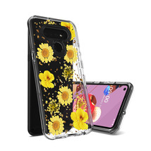 Pressed dried flower Design Phone case for LG K51 in Yellow - $12.52