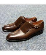 Handmade Men brown Formal monk Shoes, Mens fashion brown dress shoes, Me... - $164.99