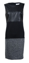 Calvin Klein Women's Petite Faux Leather Top Knit Bottom Sheath Dress 8P... - $39.59