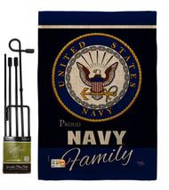 Navy Proudly Family Burlap - Impressions Decorative Metal Garden Pole Fl... - $36.97