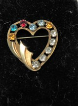 Catamore 1/20 12KGF Heart Pin Brooch w/ Rhinestones - $12.86