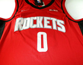 RUSSELL WESTBROOK / AUTOGRAPHED HOUSTON ROCKETS RED PRO STYLE JERSEY / COA image 2
