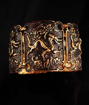 Exotic Dragon Bracelet - Medieval cuff - gold & black - mythical jewelry - $95.00