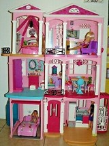 Mattel Barbie 3 Story fully furnished Pink House with car & 4 dolls - $215.33