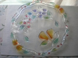 "Mikasa Crystal 13 1/2"" Cake Plate Garden Harvest Fruit 3D Design Germany - $86.99"