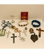 16 Piece Lot of Religious Catholic Medals Bracelet Crosses Crucifix Lot... - $9.50