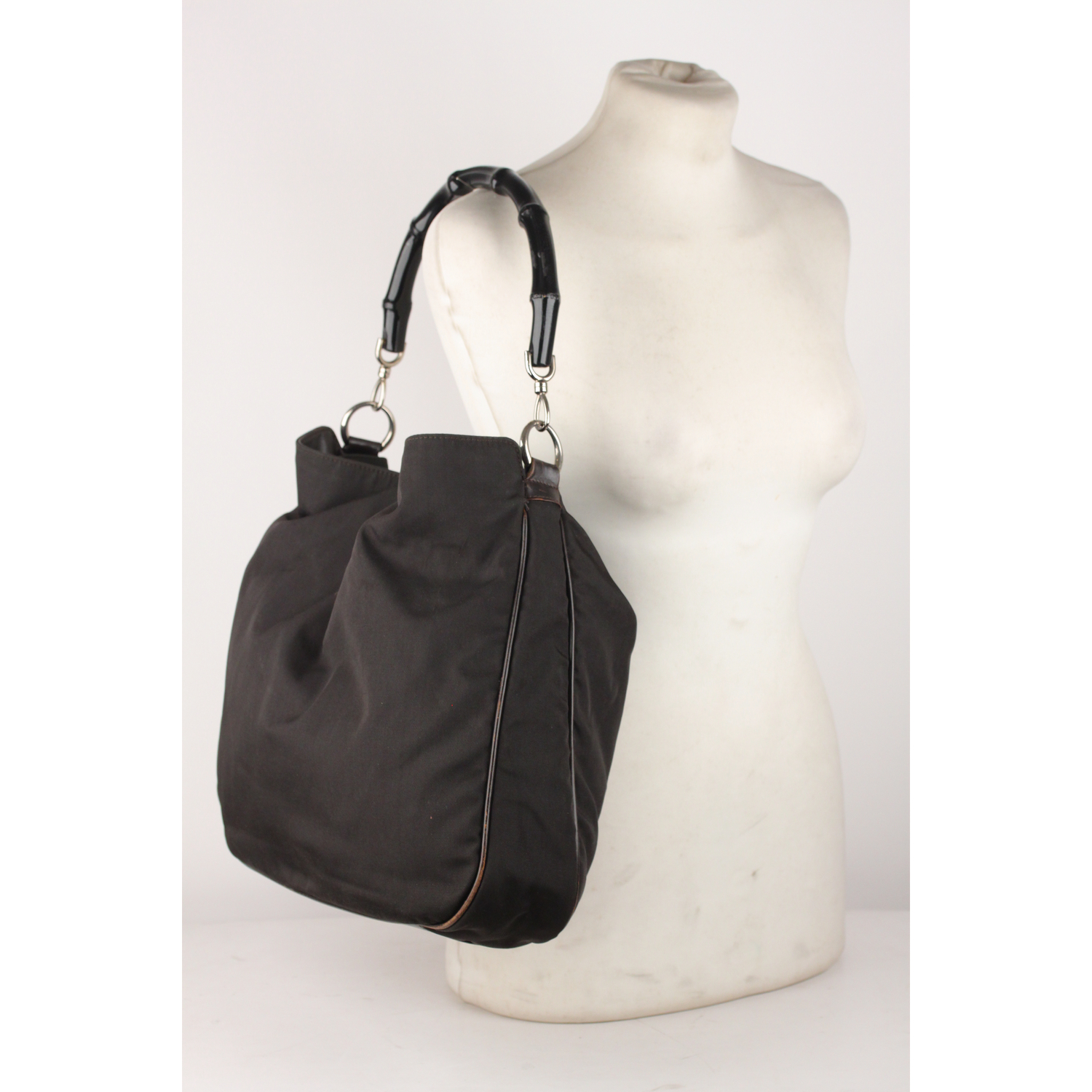 f952fe3357f E70a5aaa 9bd5 5b06 ad86 48ce97822e08. E70a5aaa 9bd5 5b06 ad86 48ce97822e08.  Previous. Authentic Gucci Black Canvas Hobo Shoulder Bag Tote Bamboo Handle