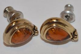 Liz Claiborne Signed LC Amber Orange Teardrop Pierced Earrings  NICE - $18.65