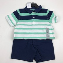 NEW Boy's Toddler 3T CARTER's navy/Mint polo shirt and Short Set NWT - $14.03