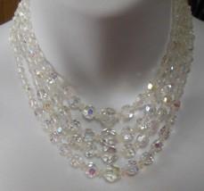Vintage 4-Strand Aurora Borealis Crystal Collar Necklace - $64.35