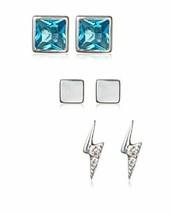 Argento Vivo Sterling Triple Stud Earring Set Lightning Boulon Opale Carrés