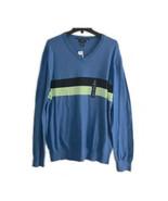 GAP Factory Men's Sz XL Pullover Sweater Striped Blue V-Neck 100% Cotto... - $19.04