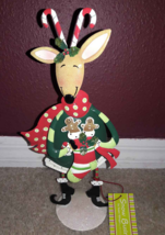 Susan Winget Snow Business Reindeer Holding Srocking Metal Christmas Dec... - $10.59