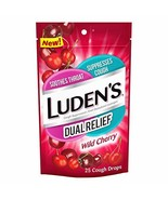 Luden's Dual Relief Wild Cherry Cough Drops | 25 Drops | 12 Bags - $18.85