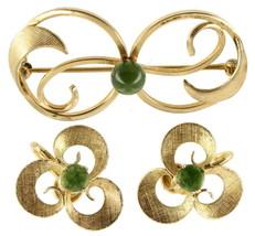 VINTAGE 50'S SPINACH JADE BOJAR GOLD FILLED GF FLORENTINE PIN & EARRINGS... - $34.82