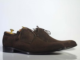Handmade Men's Chocolate Brown Suede Dress/Formal Oxford Shoes image 3