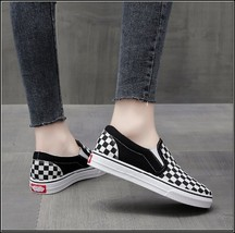 Checkered Black and White Casual Slip On Flat Canvas Sneaker Loafers image 4