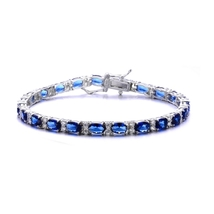 Sterling Silver Sapphire Blue Cubic Zirconia Tennis Bracelet - $159.99