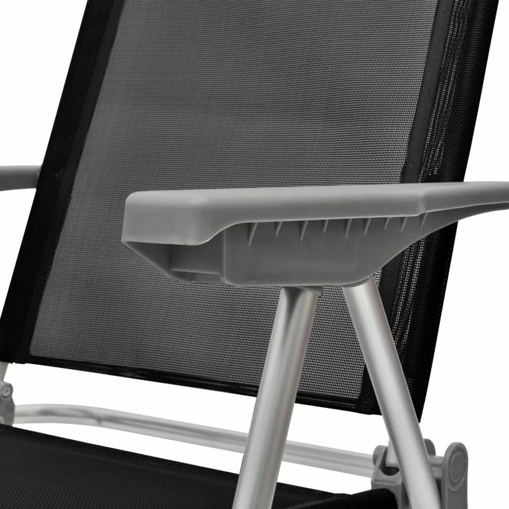 vidaXL 4x Camping Chairs Aluminum Black Folding Reclining Outdoor Camp Seat