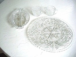 Imperial 4 Pc. Set Matching Cake Plate Relish Dish and Cream & Sugar - $34.64