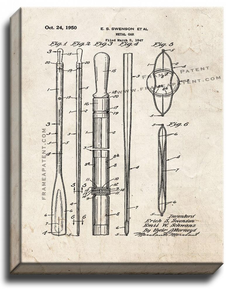 Primary image for Metal Oar Patent Print Old Look on Canvas