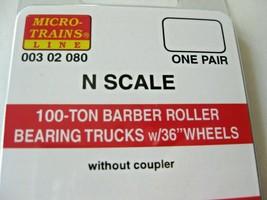 "Micro-Trains Stock #00302080 Barber Roller Bearing Trucks 100-Ton 36"" Wheels (N) image 2"