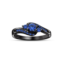 Round Cut Blue Sapphire 925 Silver 14k Black Gold Fn. Promise Three Ston... - $71.99